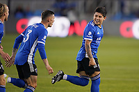 SAN JOSE, CA - MAY 1: Eduardo Lopez #9 of the San Jose Earthquakes celebrates scoring before a game between D.C. United and San Jose Earthquakes at PayPal Park on May 1, 2021 in San Jose, California.