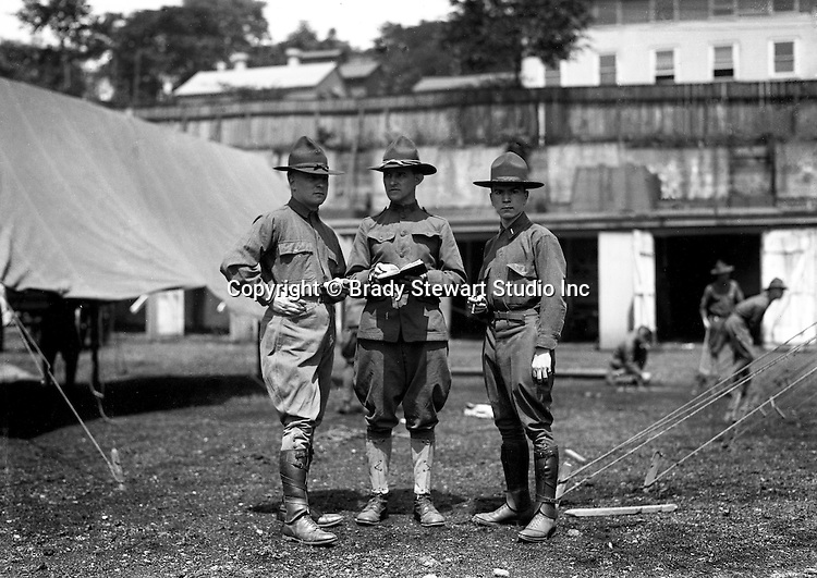 Petersburg VA:  Officer and two Sargents going over the manual at boot camp, 80th Division encampment.