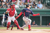 Left fielder Jesse Franklin V (33) of the Rome Braves in a game against the Greenville Drive on Tuesday, August 3, 2021, at Fluor Field at the West End in Greenville, South Carolina. The catcher is Elih Marrero (10). (Tom Priddy/Four Seam Images)