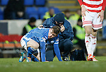 St Johnstone v Hamilton Accies....016.01.16  SPFL  McDiarmid Park, Perth<br /> Craig Thomson recovers from his collison with Michael Devlin<br /> Picture by Graeme Hart.<br /> Copyright Perthshire Picture Agency<br /> Tel: 01738 623350  Mobile: 07990 594431