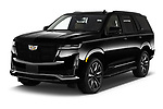 2021 Cadillac Escalade Sport 5 Door SUV Angular Front automotive stock photos of front three quarter view