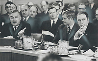 1969 FILE PHOTO - ARCHIVES -<br /> <br /> Attack and counterattack featured the confrontation between federal and provincial leaders at the constitutional conference in Ottawa yesterday. Ontario Premier John Robarts and Quebec Premier Jean-Jacques Bertrand joined to attack Ottawa tax policies; but split on most other issues. Prime Minister Pierre Trudeau exploited differences to make his own points.<br /> <br /> 1969<br /> <br /> PHOTO :  Doug Griffin - Toronto Star Archives - AQP