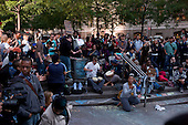 """New York, New York<br /> October 7, 2011<br /> <br /> """"Occupy Wall Street"""" protesters encampment at Zuccotti Park expanses and grows by the day. Food, medicine and blankets are seen piled up from donations within the camp and the age range widens.<br /> <br /> The participants of the event, that began on September 17, are mainly protesting against social and economic inequality, corporate greed, and the influence of corporate money and lobbyists on government, among other concerns."""