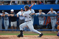 Ben Breazeale (39) of the Wake Forest Demon Deacons follows through on his swing against the Florida Gators in Game One of the Gainesville Super Regional of the 2017 College World Series at Alfred McKethan Stadium at Perry Field on June 10, 2017 in Gainesville, Florida. The Gators defeated the Demon Deacons 2-1 in 11 innings. (Brian Westerholt/Four Seam Images)
