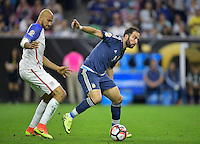 Houston, TX - Tuesday June 21, 2016: John Brooks, Gonzalo Higuain during a Copa America Centenario semifinal match between United States (USA) and Argentina (ARG) at NRG Stadium.