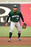 Daytona Tortugas first baseman Sammy Diaz (10) during a game against the Tampa Yankees on April 24, 2015 at George M. Steinbrenner Field in Tampa, Florida.  Tampa defeated Daytona 12-7.  (Mike Janes/Four Seam Images)