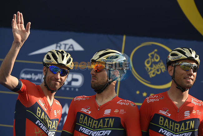 Vincenzo Nibali (ITA) and Bahrain-Merida team at sign on before the start of Stage 2 The  Ras Al Khaimah Stage of the Dubai Tour 2018 the Dubai Tour's 5th edition, running 190km from Skydive Dubai to Ras Al Khaimah, Dubai, United Arab Emirates. 7th February 2018.<br /> Picture: LaPresse/Fabio Ferrari | Cyclefile<br /> <br /> <br /> All photos usage must carry mandatory copyright credit (© Cyclefile | LaPresse/Fabio Ferrari)