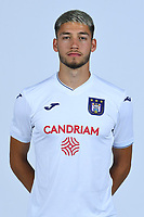 30th July 2020, Turbize, Belgium;   Antoine Colassin midfielder of Anderlecht pictured during the team photo shoot of RSC Anderlecht prior the Jupiler Pro league football season 2020 - 2021 at Tubize training Grounds.
