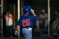 AZL Cubs 1 shortstop Clayton Daniel (25) celebrates after hitting a home run during an Arizona League game against the AZL Padres 1 at Sloan Park on July 5, 2018 in Mesa, Arizona. The AZL Cubs 1 defeated the AZL Padres 1 3-1. (Zachary Lucy/Four Seam Images)