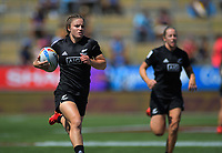 Michaela Blyde runs in a try for NZ in the women's pool match against China. Day one of the 2020 HSBC World Sevens Series Hamilton at FMG Stadium in Hamilton, New Zealand on Saturday, 25 January 2020. Photo: Dave Lintott / lintottphoto.co.nz