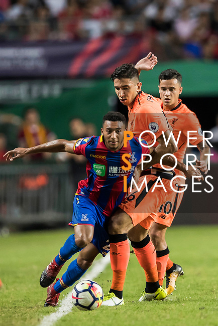 Crystal Palace forward Keshi Anderson (L) in action during the Premier League Asia Trophy match between Liverpool FC and Crystal Palace FC at Hong Kong Stadium on 19 July 2017, in Hong Kong, China. Photo by Yu Chun Christopher Wong / Power Sport Images