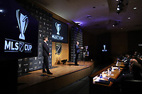 SEATTLE, WA - NOVEMBER 08: Major League Soccer Commissioner Don Garber takes questions from the audience at Grand Hyatt Seattle on November 08, 2019 in Seattle, Washington.