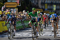 green jersey / points leader Mark Cavendish (GBR/Deceuninck-Quick Step) wins his 34th TdF stage and equals the historic record of Eddy Merckx <br /> <br /> Stage 13 from Nîmes to Carcassonne (219.9km)<br /> 108th Tour de France 2021 (2.UWT)<br /> <br /> ©kramon