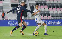 FORT LAUDERDALE, FL - DECEMBER 09: Djordje Mihailovic #14 of the United States chases down a loose ball during a game between El Salvador and USMNT at Inter Miami CF Stadium on December 09, 2020 in Fort Lauderdale, Florida.
