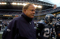 Oct 16, 2005; Seattle, Wash, USA; Seattle Seahawks head coach Mike Holmgren walks off the field prior to his teams game against the Houston Texans at Qwest Field. Mandatory Credit: Photo By Mark J. Rebilas