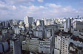 Sao Paulo, Brazil. Overview of city centre high rise buildings including the Cathedral da Se.