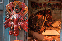 Nepal, Patan.   Ganesh Mask on Door to Mask-carver's Workshop.