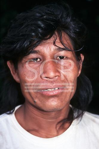 Rio Grande do Sul, Brazil. Portrait of a Guarani Indian man.