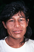 Rio Grande do Sul, Brazil. Portrait of a Guarani Indian man.