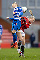 7th February 2021; Leigh Sports Village, Lancashire, England; Women's English Super League, Manchester United Women versus Reading Women; Jess Fishlock of Reading heads the ball from a cross