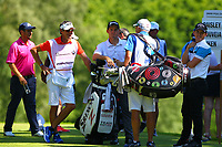 Players and caddies shelter from the sun during the BMW PGA Golf Championship at Wentworth Golf Course, Wentworth Drive, Virginia Water, England on 26 May 2017. Photo by Steve McCarthy/PRiME Media Images.