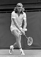 1978, Wimbledon, Bjorn Borg in action against Tom Okker