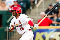 Xavier Scruggs (15) of the Springfield Cardinals follows through his swing during a game against the Arkansas Travelers at Hammons Field on May 5, 2012 in Springfield, Missouri. (David Welker/Four Seam Images)