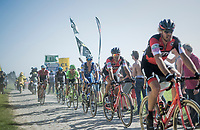 Greg Van Avermaet (BEL/BMC) sitting in Daniel Oss' (ITA/BMC) wheel<br /> <br /> 115th Paris-Roubaix 2017 (1.UWT)<br /> One Day Race: Compiègne › Roubaix (257km)