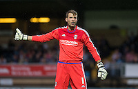 Goalkeeper Marcus Bettinelli of Fulham gives a thumb up during the Capital One Cup match between Wycombe Wanderers and Fulham at Adams Park, High Wycombe, England on 11 August 2015. Photo by Andy Rowland.