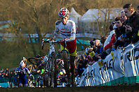 29 NOV 2014 - MILTON KEYNES, GBR - Ian Field (GBR)  from Great Britain pushes his bike up a climb during the men's 2014-2015 UCI Cyclo-Cross World Cup round at Campbell Park in Milton Keynes, Great Britain (PHOTO COPYRIGHT © 2014 NIGEL FARROW, ALL RIGHTS RESERVED)