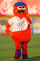 """Burlington Royals mascot """"Bingo"""" runs the bases between innings of the game against the Bristol White Sox at Burlington Athletic Park on July 9, 2011 in Burlington, North Carolina.  The Royals defeated the White Sox 3-2.   (Brian Westerholt / Four Seam Images)"""
