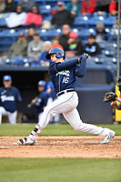 Asheville Tourists designated hitter Daniel Jipping (16) swings at a pitch during game one of a double header against the West Virginia Power at McCormick Field on April 20, 2019 in Asheville, North Carolina. The Tourists defeated the Power 12-7. (Tony Farlow/Four Seam Images)