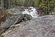 Lower Georgiana Falls in Lincoln, New Hampshire USA during the spring months. These falls are located along Harvard Brook.