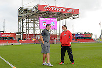 Chicago, IL - Saturday July 30, 2016: Vlatko Andonovski, Rory Dames prior to a regular season National Women's Soccer League (NWSL) match between the Chicago Red Stars and FC Kansas City at Toyota Park.