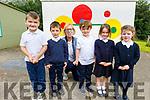 Euan McGovern, Oisin McKenna, Fiona Ryle (Teacher), Evan Sheehy, Olivia Laide and Sarah Leonard enjoying their first day at Flemby NS on Thursday.
