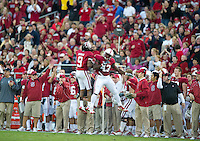 STANFORD, CA - November 6, 2010: Richard Sherman celebrates with Chike Amajoyi during a 42-17 Stanford win over the University of Arizona, in Stanford, California.