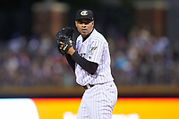 Charlotte Knights relief pitcher Jeanmar Gomez (9) looks to his catcher for the sign against the Toledo Mud Hens at BB&T BallPark on June 22, 2018 in Charlotte, North Carolina. The Mud Hens defeated the Knights 4-0.  (Brian Westerholt/Four Seam Images)