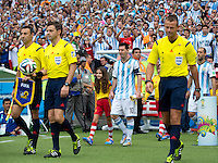 Lionel Messi of Argentina walks out of the tunnel