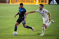 SAN JOSE, CA - SEPTEMBER 05: Marcos Lopez #27 and Keegan Rosenberry #2 during a game between Colorado Rapids and San Jose Earthquakes at Earthquakes Stadium on September 05, 2020 in San Jose, California.