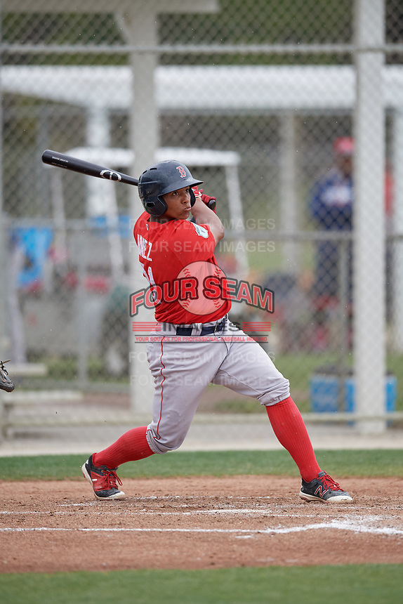 Boston Red Sox Jhon Nunez (31) bats during a minor league Spring Training intrasquad game on March 31, 2017 at JetBlue Park in Fort Myers, Florida. (Mike Janes/Four Seam Images)