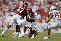 Arkansas defensive lineman Mataio Soli (11) carries the ball, Saturday, September 11, 2021 during the second quarter of a football game at Reynolds Razorback Stadium in Fayetteville. Check out nwaonline.com/210912Daily/ for today's photo gallery. <br /> (NWA Democrat-Gazette/Charlie Kaijo)