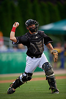 Batavia Muckdogs catcher Michael Hernandez (29) throws to first base during a NY-Penn League game against the State College Spikes on July 2, 2019 at Dwyer Stadium in Batavia, New York.  Batavia defeated State College 1-0.  (Mike Janes/Four Seam Images)