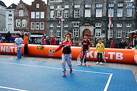 The Netherlands, Den Bosch, 16.04.2014. Fed Cup Netherlands-Japan, Street tennis on the market in the city center,<br /> Photo:Tennisimages/Henk Koster