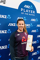 23rd February 2021, Christchurch, New Zealand;  Player of the match Tammy Beaumont of England after the 1st ODI Cricket match, New Zealand versus England, Hagley Oval, Christchurch, New Zealand