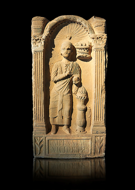 Second century AD Roman funerary Stele dedicated to Caipenniae Victoriae from  Africa Proconsularis , present day Tunisia. The Bardo National Museum, Tunis, Tunisia .  Against a black background.