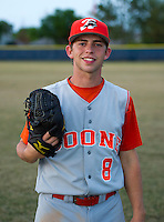 Boone Bears pitcher Ian McKinney #8 poses for a photo after a varsity baseball game against the University Cougars at University High School on February 20, 2013 in Orlando, Florida.  McKinney is ranked as one of the top 100 high school draft prospects according to Baseball America.  (Mike Janes/Four Seam Images)