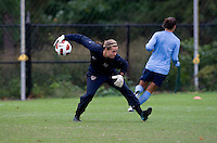 USWNT goalkeeper Ashlyn Harris throws the ball out to a teammate during practice in Chester, PA.  The USWNT will take on China, in an international friendly at PPL Park, on October 6.