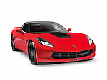 Red 2016 Chevrolet Corvette Stingray Z51 Convertible luxury sports car isolated on white background with clipping path Image © MaximImages, License at https://www.maximimages.com