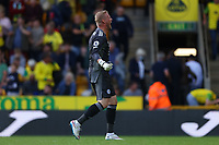 28th August 2021; Carrow Road, Norwich, Norfolk, England; Premier League football, Norwich versus Leicester; Kasper Schmeichel of Leicester City celebrates their 1-2 win