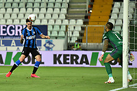 Alessandro Bastoni of FC Internazionale scores the goal of 1-2 during the Serie A football match between Parma and FC Internazionale at stadio Ennio Tardini in Parma ( Italy ), June 28th, 2020. Play resumes behind closed doors following the outbreak of the coronavirus disease. <br /> Photo Andrea Staccioli / Insidefoto